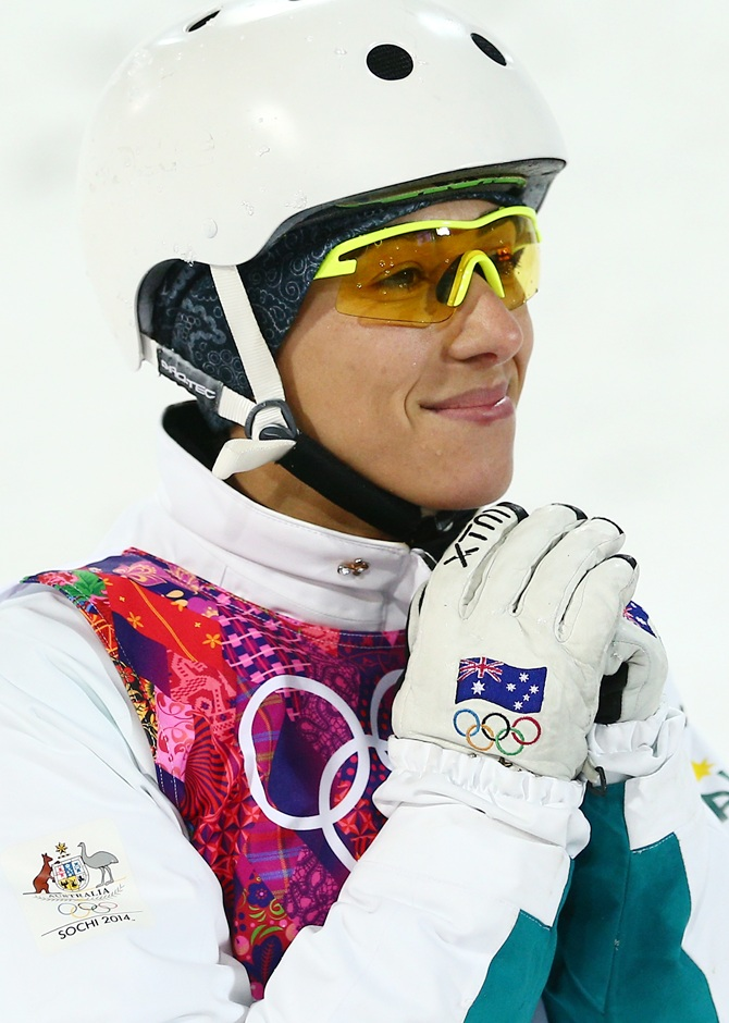 Bronze medalist Lydia Lassila of Australia shows her emotion.