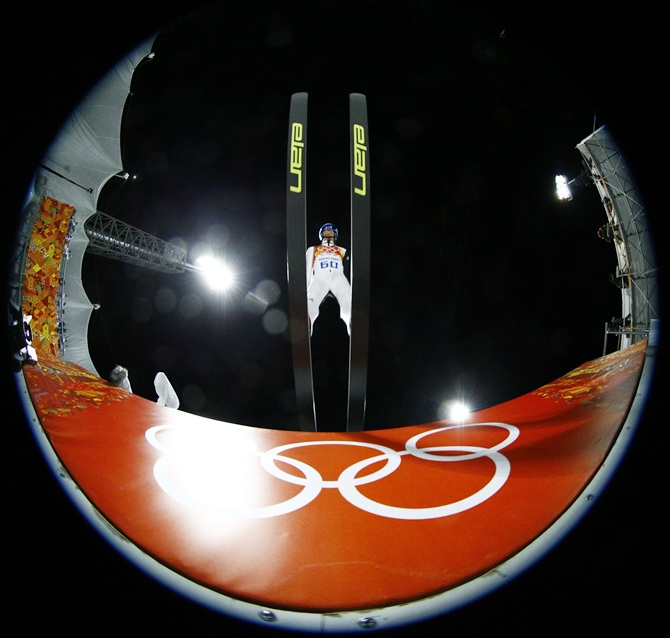 Slovenia's Peter Prevc takes off during his trial jump in the men's ski jumping large hill individual qualification round.