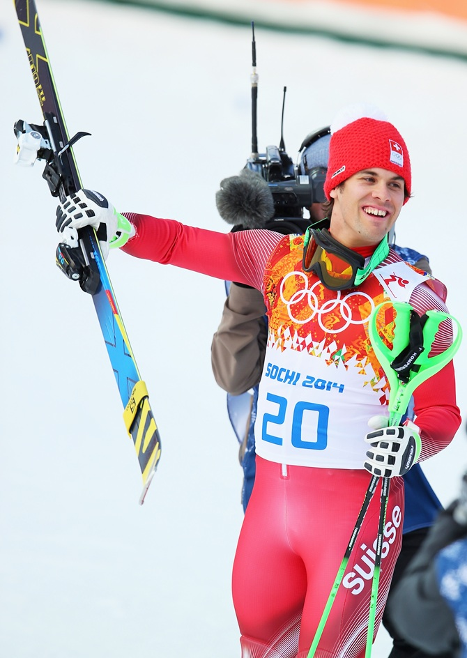 Sandro Viletta of Switzerland jubilates during the Alpine Skiing Men's Super Combined Downhill.