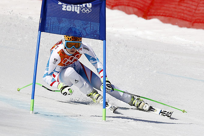 Anna Fenninger of Austria wins the gold medal during the Alpine Skiing Women's Super-G at the Sochi 2014 Winter Olympic Games at Rosa Khutor Alpine Centre on Saturday