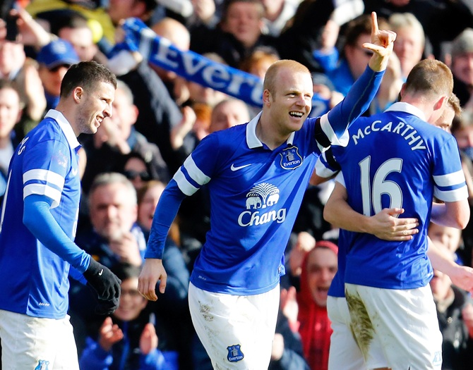 Steven Naismith of Everton celebrates his goal during the FA Cup match.
