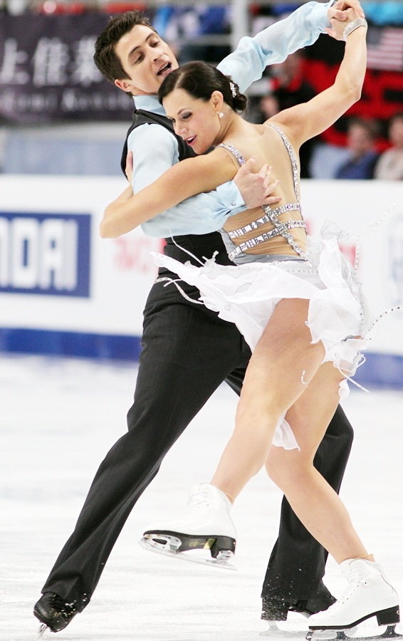 Tessa Virtue and Scott Moir of Canada skate in the ice dance short dance.