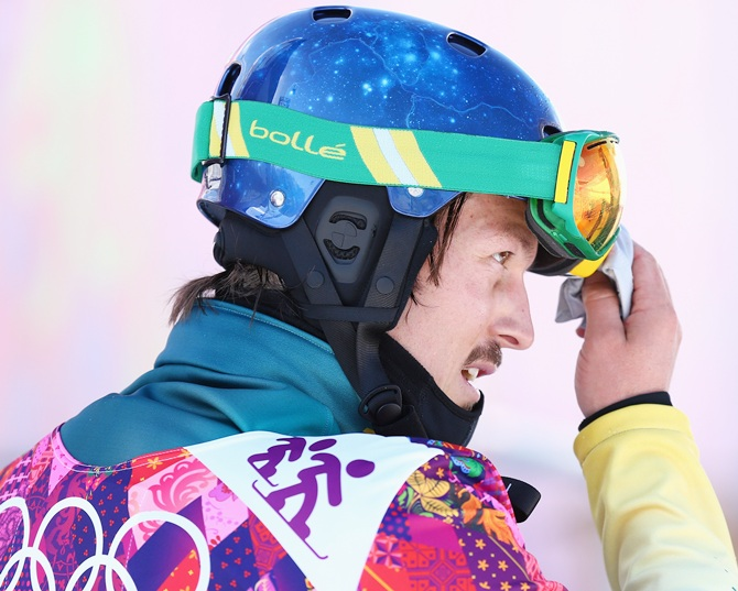 Alex Pullin of Australia looks on during a Men's Snowboard Cross practice.