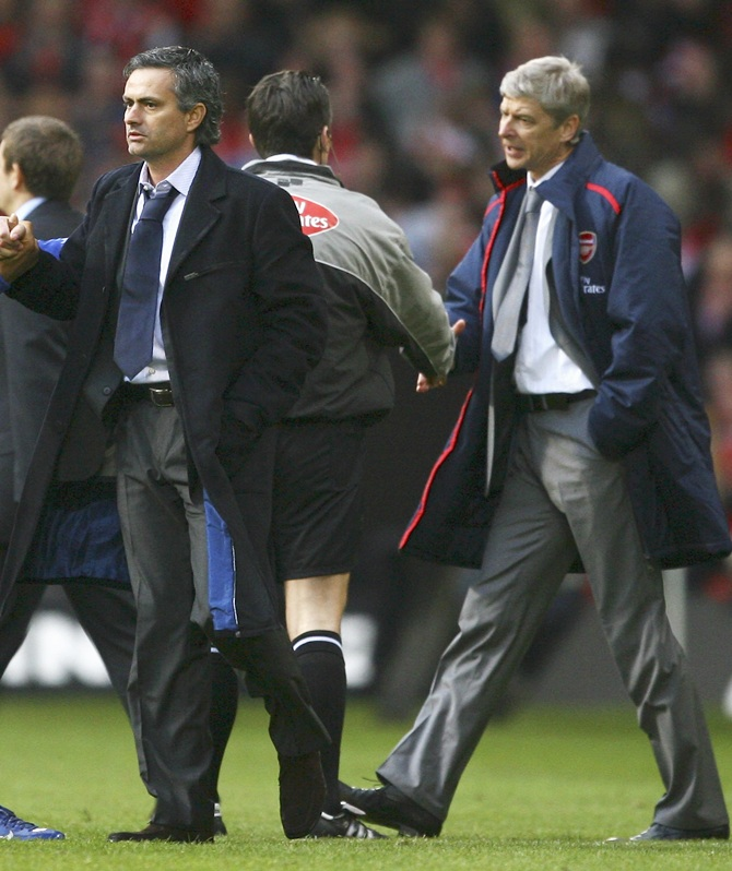 Chelsea Manager Jose Mourinho and Arsenal Manager Arsene Wenger.