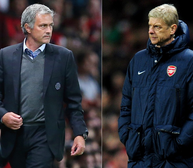 Chelsea Manager Jose Mourinho, left, and Arsenal Manager Arsene Wenger.
