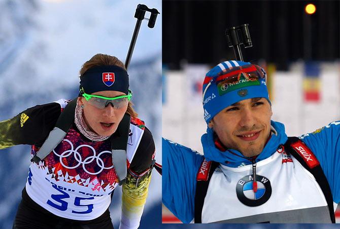 Slovakia's Anastasiya Kuzmina (left) competes in the Women's Biathlon 15 km Individual at the Laura Cross-Country Ski and Biathlon Center. Kuzmina's brother, Anton Shipulin, represents Russia