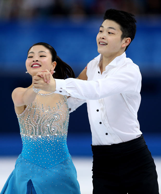 Maia Shibutani and Alex Shibutani of the United States compete during the Figure Skating Ice Dance Short Dance at the Sochi Winter Games