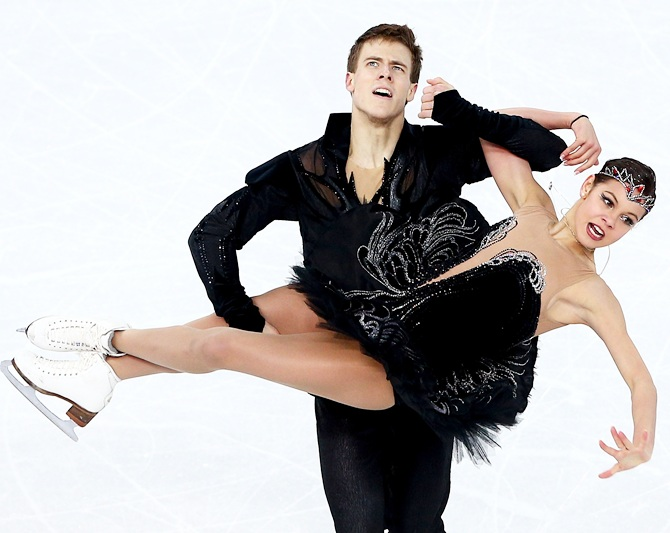 Elena Ilinykh and Nikita Katsalapov of Russia compete in the Figure Skating Ice Dance.