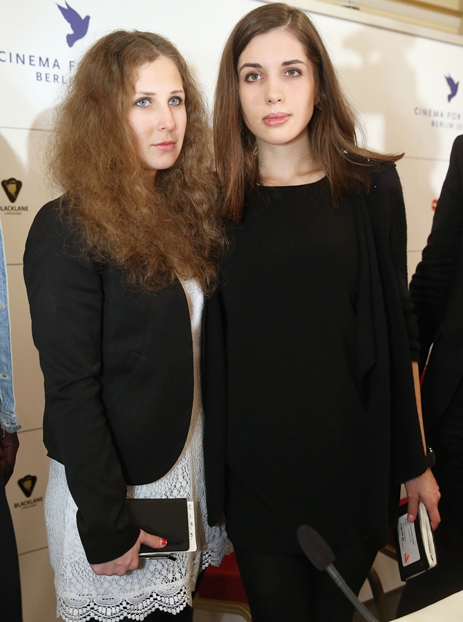Pussy Riot members Nadezhda Tolokonnikova, right, and Maria Alyokhina