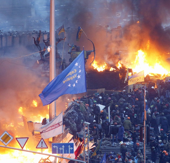 A general view shows clashes at Independence Square in Kiev.
