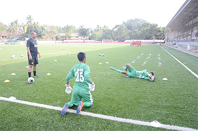 Players go through the grind at the Rising Stars talent hunt conducted by Manchester United in Mapusa on Thursday