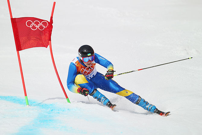 Dmytro Mytsak of Ukraine in action during the Alpine Skiing Men's Giant Slalom on Wednesday