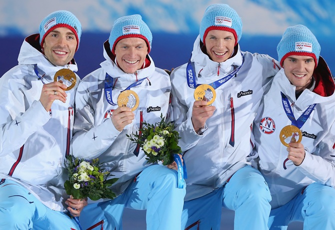 From Left, Gold medalists Magnus Hovdal Moan, Haavard Klemetsen, Magnus Krog and Joergen Graabak of Norway   celebrate during the medal ceremony for the Nordic Combined Team Large Hill / 4 x 5 km.