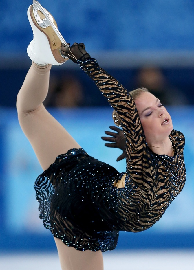 Natalia Popova of Ukraine competes in the Figure Skating Ladies' Short Program.