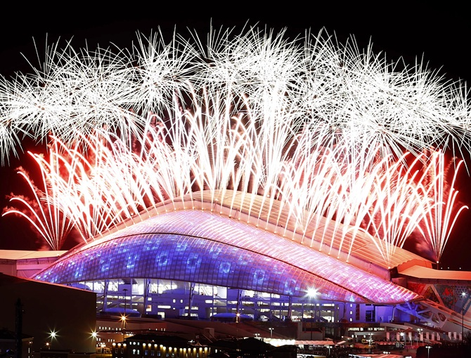 Fireworks explode over the Fisht Olympic Stadium during the closing ceremony.