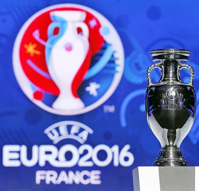 The trophy of the Euro 2016 is seen before the UEFA Euro 2016 qualifying draw in Nice.