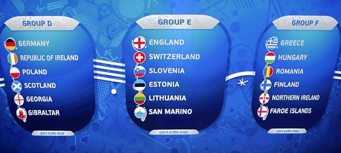 Teams drawn for the groups D, E and F are seen on a display during the UEFA Euro 2016 qualifying draw.