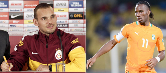 Wesley Sneijder, left) and Didier Drogba.