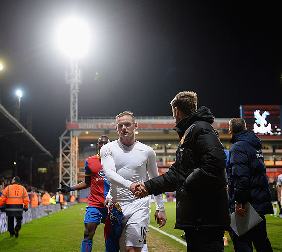 Wayne Rooney of Manchester United walks off the field at the end of the match against Crystal Palace on Saturday