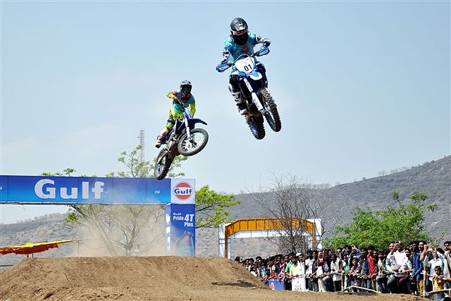 TVS Racing riders Harith Noah (01) and K P Aravind race in the Indian Expert Foreign class for motorcycle upto 500cc during the Gulf Supercross in Nashik on Sunday