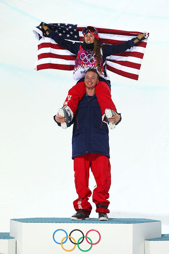Maddie Bowman of the United States celebrates winning the gold medal in the Freestyle Skiing Ladies' Ski Halfpipe Finals with David Wise, gold medal winner in the Men's Ski Halfpipe