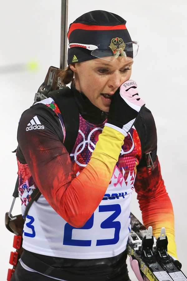 Evi Sachenbacher-Stehle of Germany looks exausted after finishing the Women's 12.5 km Mass.