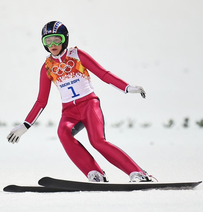 Sarah Hendrickson of the United States lands during the Ladies' Normal Hill Individual final round.