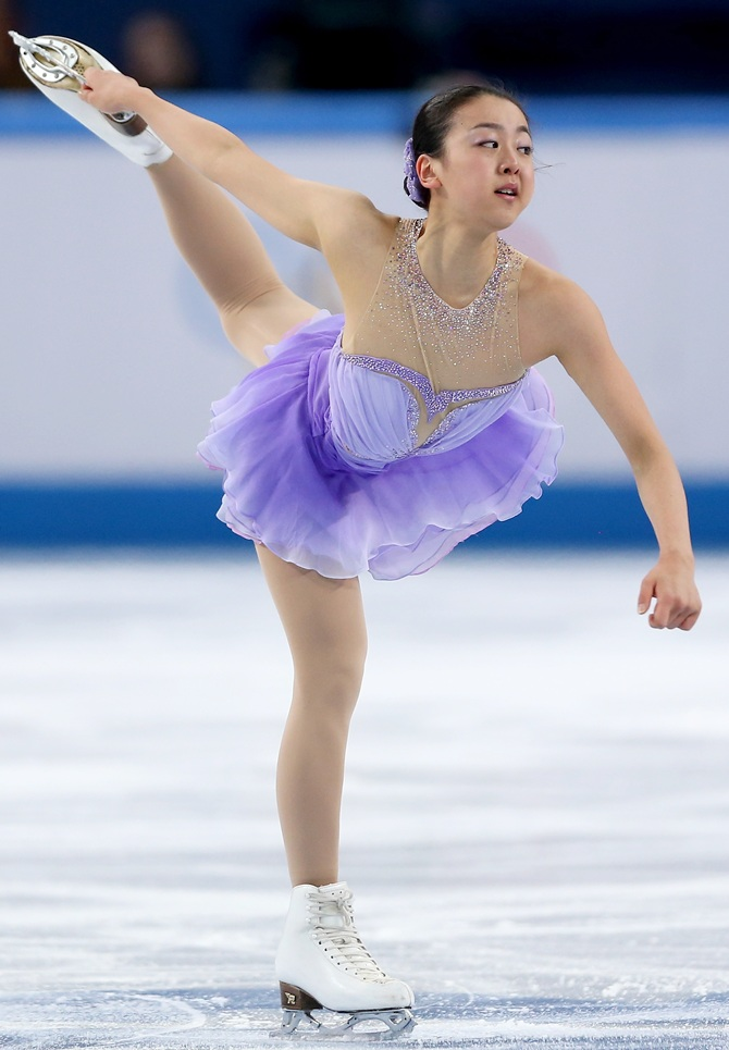 Mao Asada of Japan competes in the Figure Skating Ladies' Short Program.