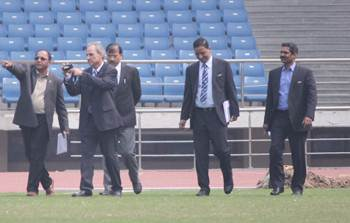 Inaki Alvarez, Deputy Director and Head of Event Management Competitions Division, FIFA, and Vijay Parthasarathy, Manager IT Competitions, during their inspection at the JLN Stadium in New Delhi.