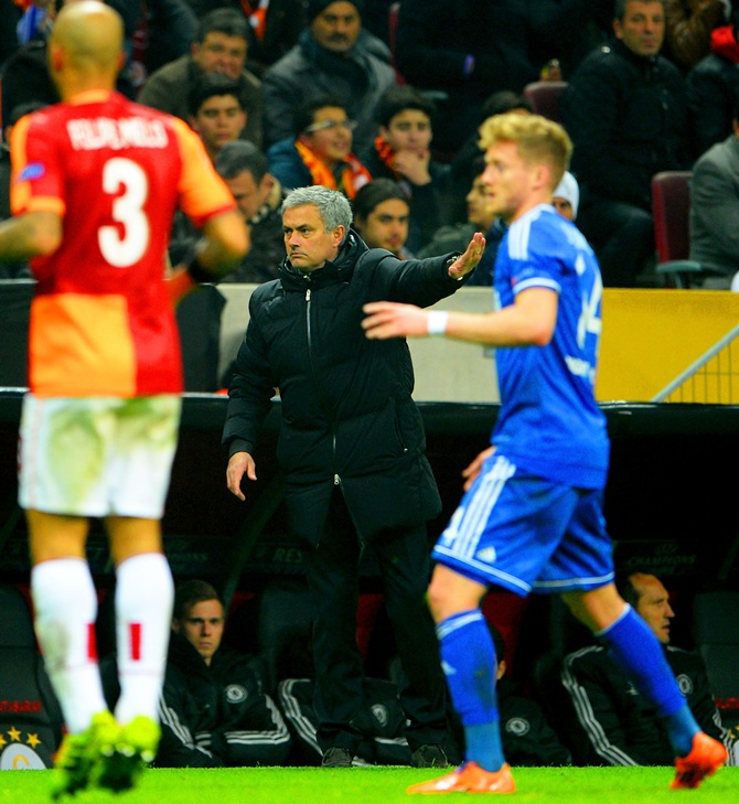Jose Mourinho manager of Chelsea gives instructions during the UEFA Champions match against Galatasaray.