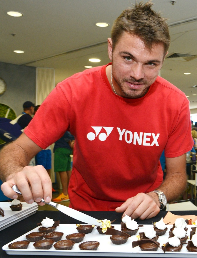 Stanislas Wawrinka of Switzerland preparing dessert.