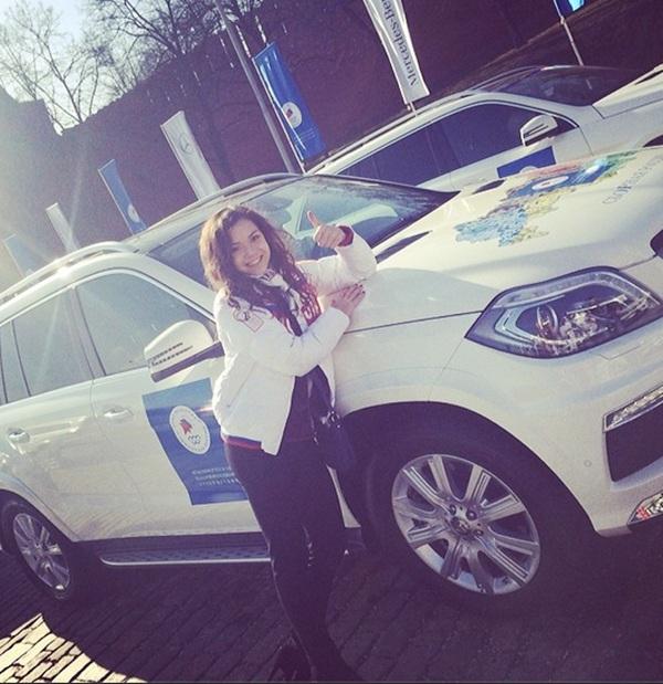 Adelina Sotnikova with her new SUV