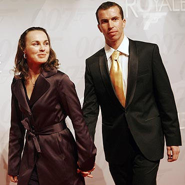 Switzerland's tennis player Martina Hingis and Stepanek Radek
