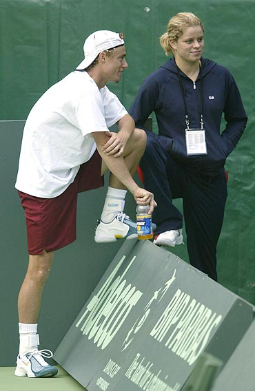 Lleyton Hewitt of Australia with Kim Clijsters
