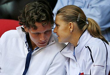 The Czech Republic's Lucie Safarova speaks to Tomas Berdych