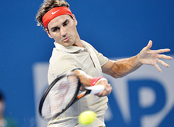 Roger Federer in action at the Brisbane International quarters on Thursday