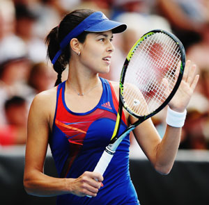Ana Ivanovic of Serbia celebrates a point during her semi-final against Kirsten Flipkens of Belgium at the Auckland Classic on Friday