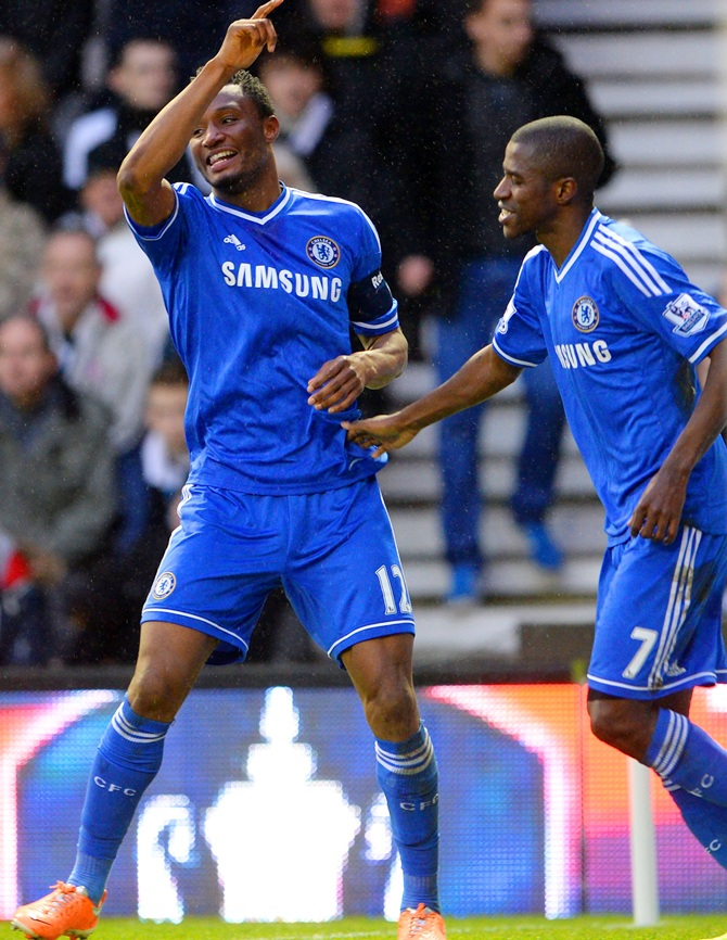 John Obi Mikel of Chelsea celebrates