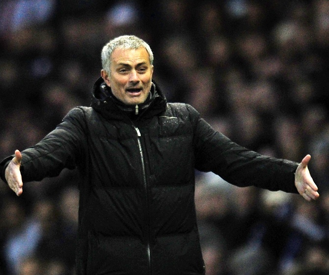 Jose Mourinho manager of Chelsea gestures