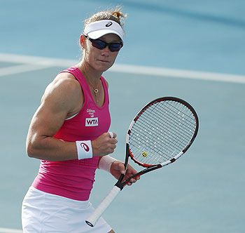 Sam Stosur of Australia celebrates winning a point in her first round match against Madison Brengle of the USA during day two of the Moorilla Hobart International at Domain Tennis Centre in Hobart on Monday