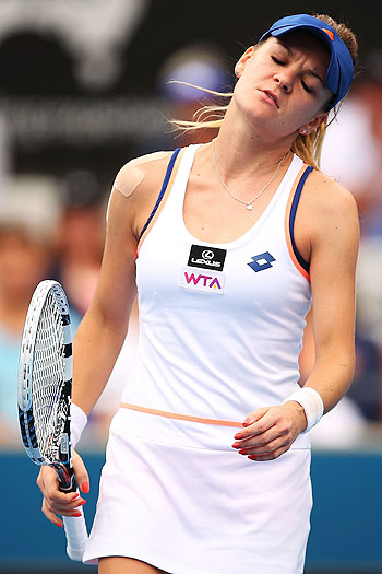 Agnieszka Radwanska of Poland shows signs of frustration in her second round match against Bethanie Mattek-Sands of the USA during day three of the 2014 Sydney International at Sydney Olympic Park Tennis Centre on Tuesday