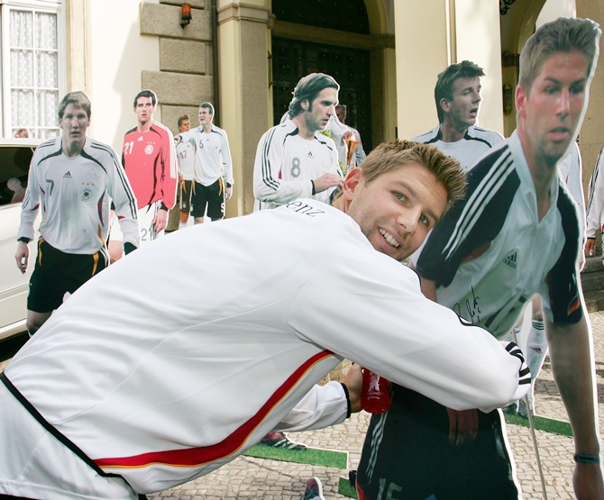 Thomas Hitzlsperger of Germany poses with his cardboard portrait