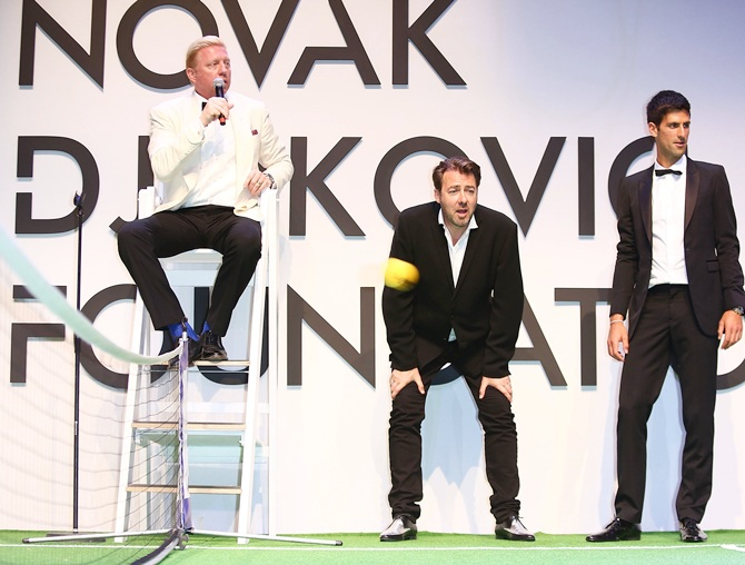Boris Becker, Jonathan Ross and Novak Djokovic