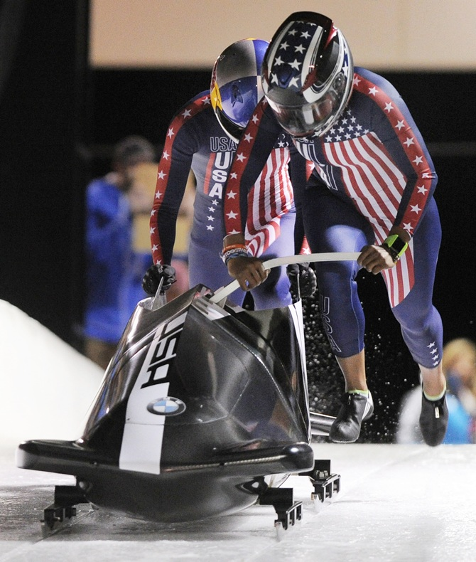 USA bobsled team of pilot Jazmine Fenlator and brakewoman Lolo Jones