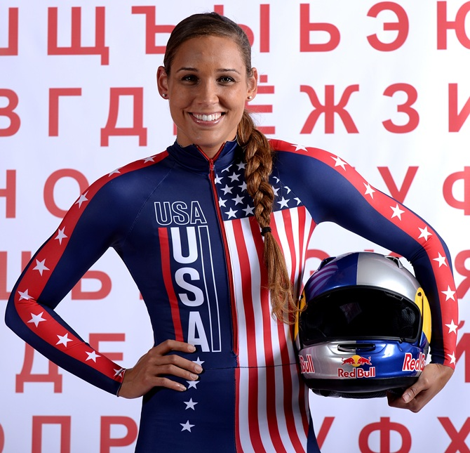 Bobsledder Lolo Jones poses for a portrait
