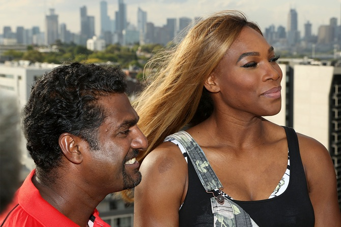 Melbourne Renegades player Muttiah Muralitharan (left) and Serena Williams of the USA