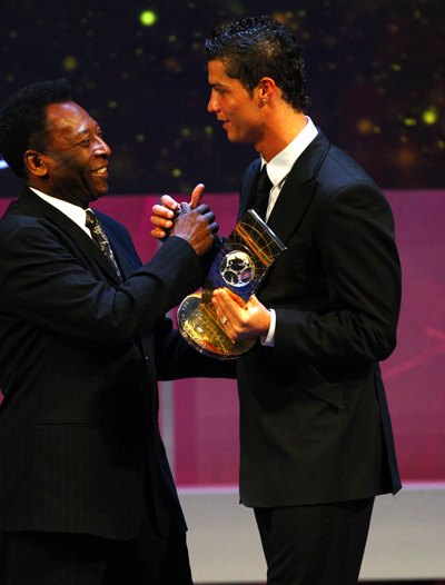 A file picture of Pele and Cristiano Ronaldo (right)