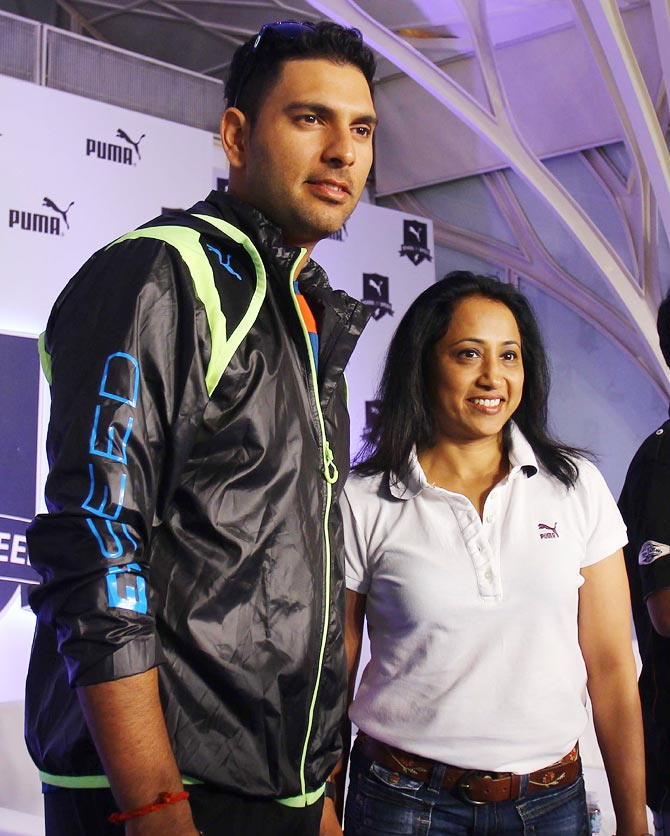 Ashwin Nachappa (right) with Yuvraj Singh