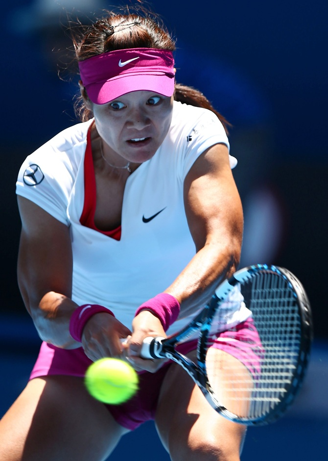 Li Na of China plays a backhand