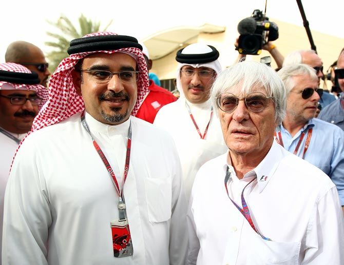 Bernie Ecclestone (right) with Prince Salman Bin Hamad Al Khalifa Crown Prince of Bahrain